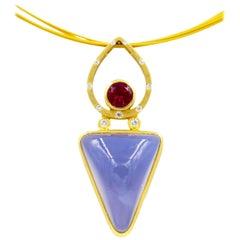 Robin Waynee, Chalcedony and Rhodolite Pendant, 18 Karat Gold, Blue Chalcedony