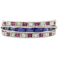 Art Deco Platinum Diamond Emerald Sapphire Ruby Flip Swivel Ring Eternity Band