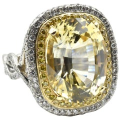 11.34 Carat Yellow Sapphire with White and Yellow Diamond Platinum Ring