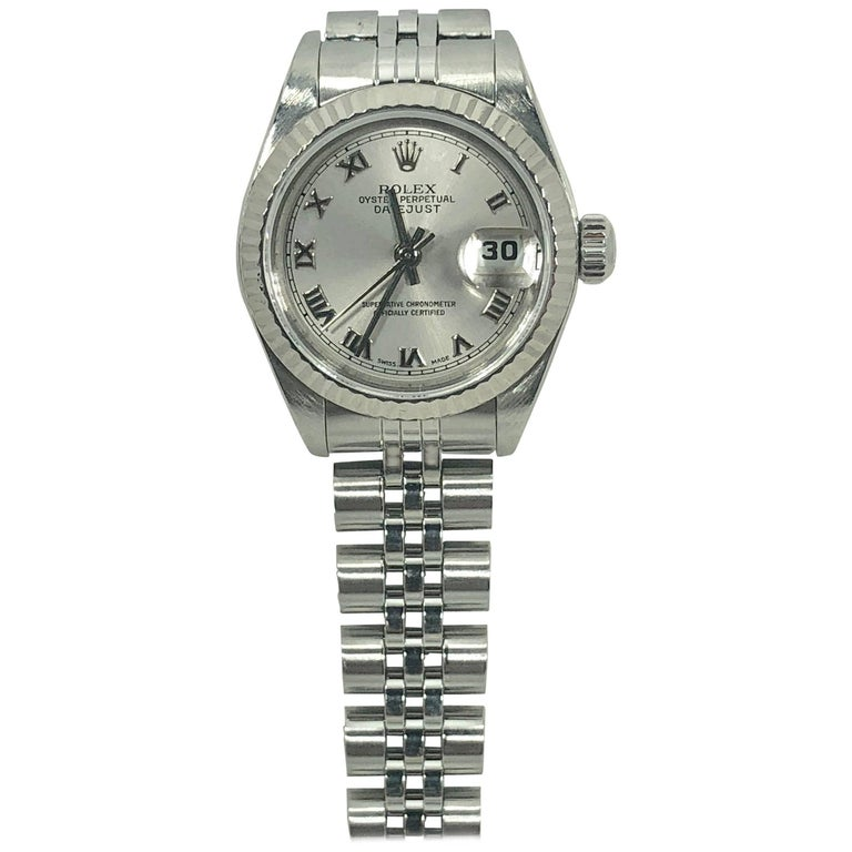 Rolex Ladies white gold Stainless Steel Datejust Automatic wristwatch Ref 79174 For Sale