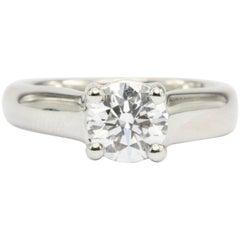 Platinum 1.12 Carat D/VS2 Round Brilliant Diamond Solitaire Engagement Ring