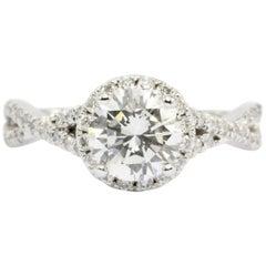 14 Karat White Gold 1.2 Carat Halo Set Diamond Engagement Ring