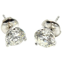 2.12 Carat Round Brilliant Diamond Stud Earrings 14 Karat White Gold