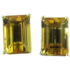 Emerald Cut Citrine Earrings set in 18 karat yellow gold