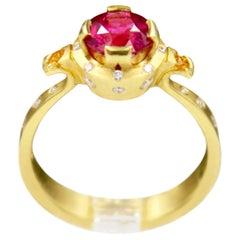 Robin Waynee, Rubellite Tourmaline Ring, 18k Gold, Rubellite Tourmaline, Diamond
