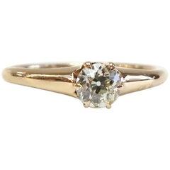 Vintage 1940s Diamond Ring / 14 Karat Rose Gold / 0.34 Carat Old European