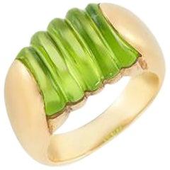 Bulgari Fluted Peridot and 18 Karat Yellow Gold Ring