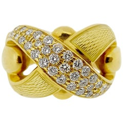 "Leo De Vroomen Diamond and Enamel 18 Karat Yellow Gold ""X"" Ring"