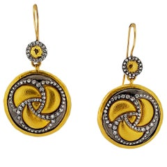 Gurhan Triskele Two-Tone 24 Karat Gold and Diamond Drop Earrings