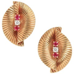 Cartier Ruby and Diamond Earrings in 18 Karat Yellow Gold