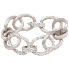 Nicolis Cola 18 Karat White Gold Large Link Bracelet with Diamonds