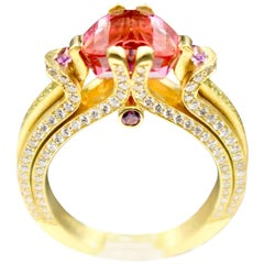 Ryan Roberts, Rubellite Tourmaline Ring, 18 Karat Gold, Diamond