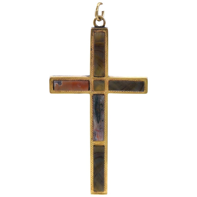 Victorian Scottish Gold and Agate Cross