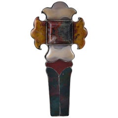 Antique Ionian Scottish Silver and Agate Cross Brooch