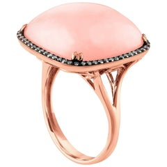 17.00 Carat Pink Opal and Diamonds Gold Statement Ring