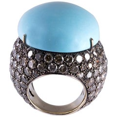 Lygia Demades Turquoise and Cognac Diamond 18 Karat Gold Ring
