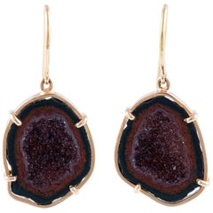 Karolin Rose Gold Bordeaux Agate Geode Drop Hook Earrings