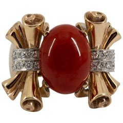 Mediterranean Red Coral 0.30 Carat Diamond Yellow Gold Cocktail Ring
