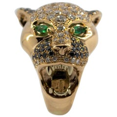 "0.10 Carat Emerald 3.50 Carat Diamond Yellow Gold ""Tiger"" Cocktail Ring"