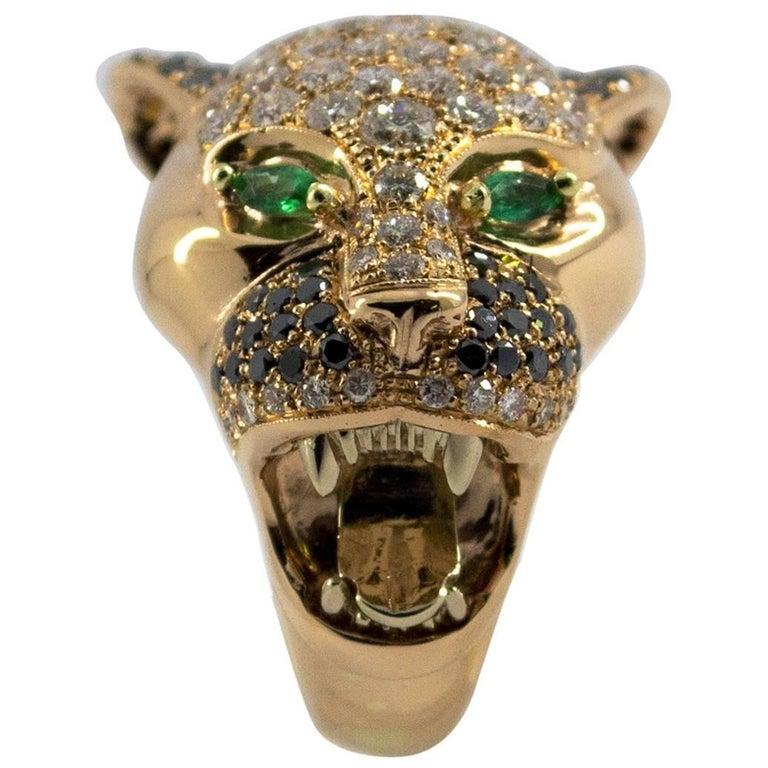 """0.10 Carat Emerald 3.50 Carat Diamond Yellow Gold """"Tiger"""" Cocktail Ring"""