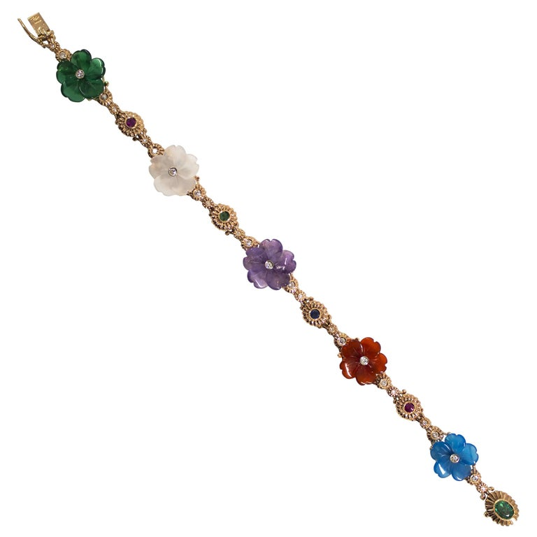 Art Nouveau Diamond Ruby Sapphire Emerald Amethyst Yellow Gold Flowers Bracelet For Sale
