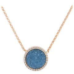 Karolin Rose Gold White Diamond Pendant Blue Agate Necklace