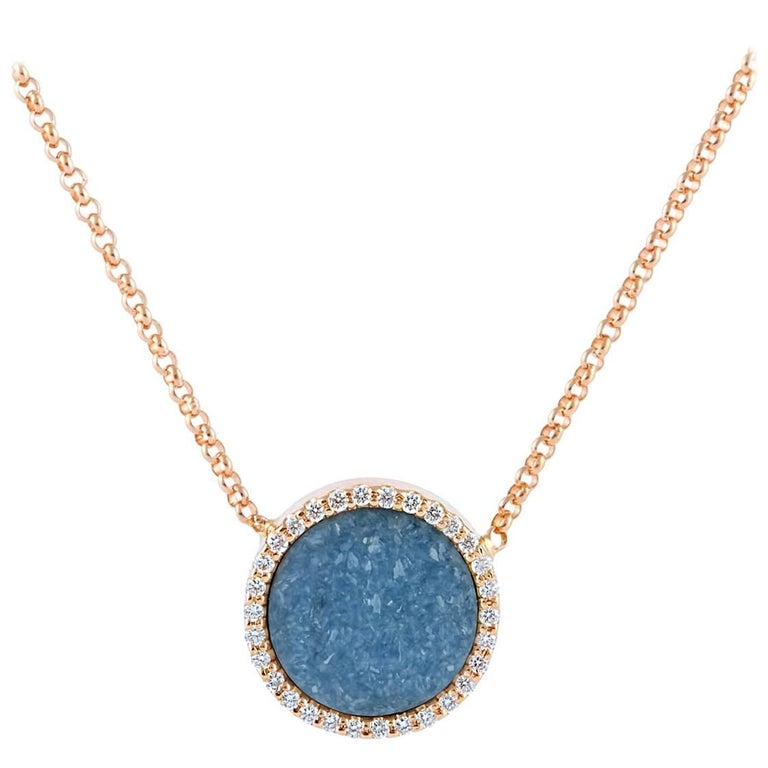 Karolin Rose Gold White Diamond Pendant Blue Agate Necklace