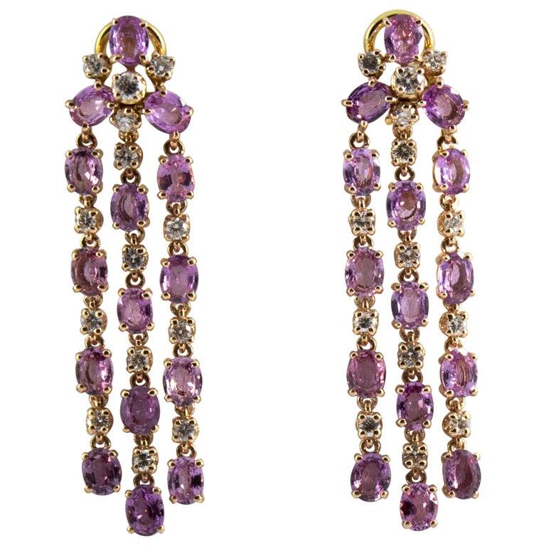 12.50 Carat Pink Sapphire 1.30 Carat White Diamond Yellow Gold Clip-On Earrings