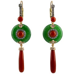 Mediterranean Red Coral Jadeite 0.70 Carat Diamond Yellow Gold Drop Earrings