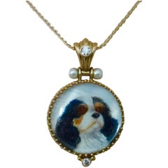Michael Kneebone Pearl Diamond Gold King Charles Spaniel Portrait Pendant