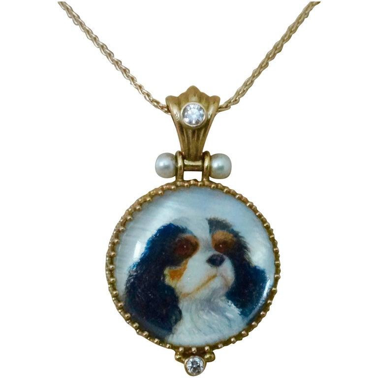 Michael Kneebone Pearl Diamond Gold King Charles Spaniel Portrait Pendant