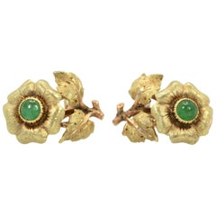 Buccellati Jade Flower Earrings 18 Karat