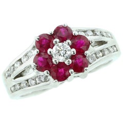 Floral Ruby Ring with Diamonds in 14 Karat White Gold