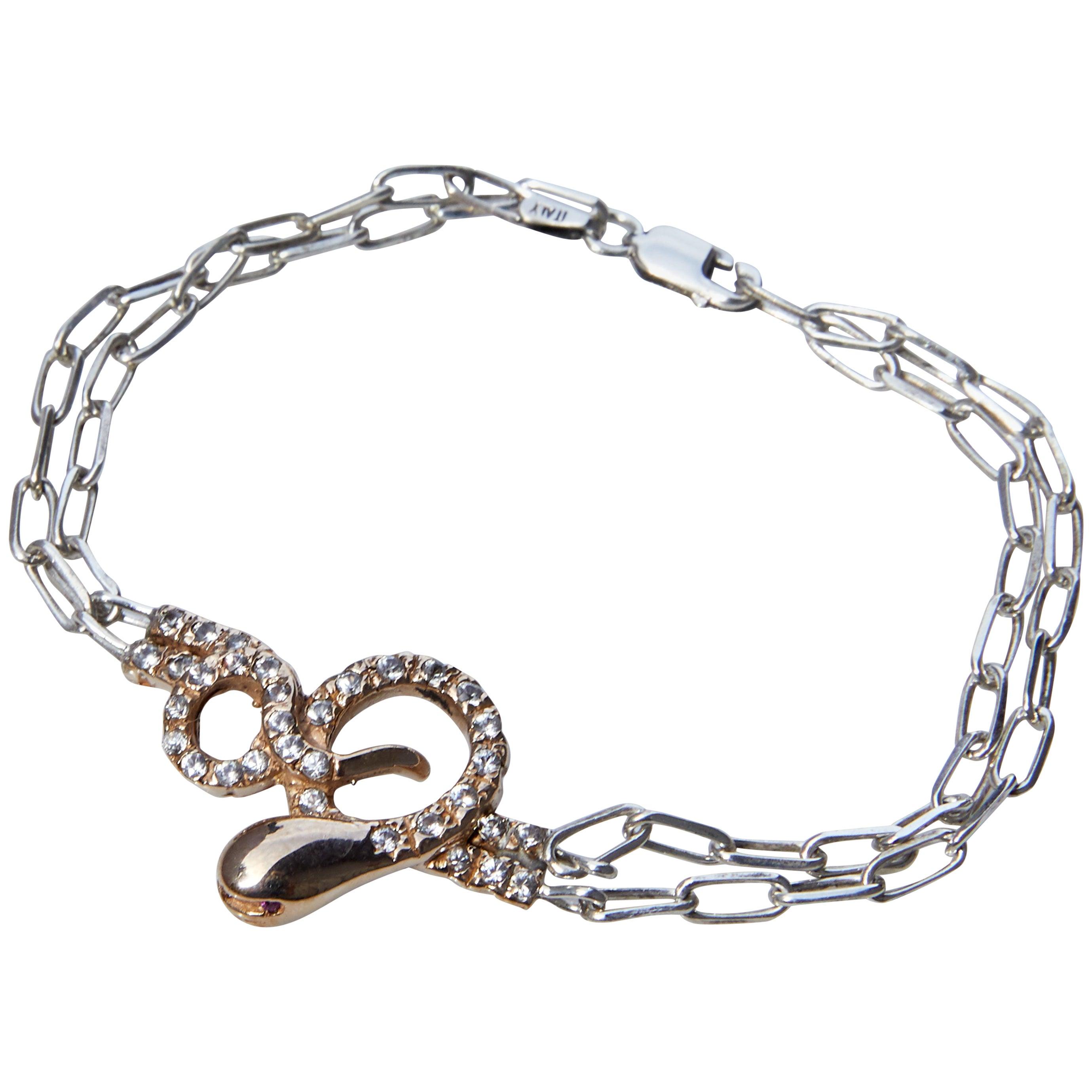 White Diamond Ruby Snake Bracelet Silver Chain Bronze Pendant J Dauphin