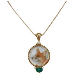 Michael Kneebone Emerald Diamond Gold Welsh Corgi Portrait Pendant