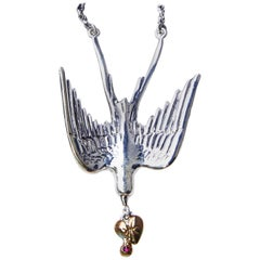 Dove Silver Necklace with Heart and Ruby