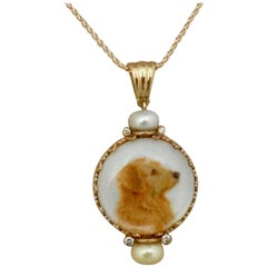 Michael Kneebone Diamond Pearl Golden Retriever Portrait Pendant