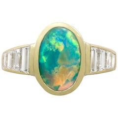 Vintage 1.40 Carat Opal 1.12 Carat Diamond Yellow Gold Dress Ring