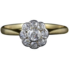 Antique Edwardian Diamond Cluster Ring 18 Carat Gold, circa 1910