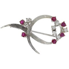 1960s Ruby Diamond White Gold Brooch