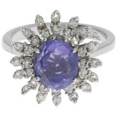 1960s Tansanite Diamond White Gold Cocktail Ring