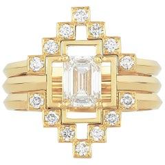 Zoe and Morgan Holos and Harmonia 18 Karat Gold Diamond Wedding Ring Set