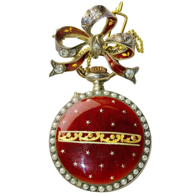19th Century Antique Ladies Pocket Watch with Enamel and Pearls, as a Brooch