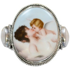 Jill Garber Rare French Cupids Kiss Porcelain with Mother-of-Pearl Cuff Bracelet