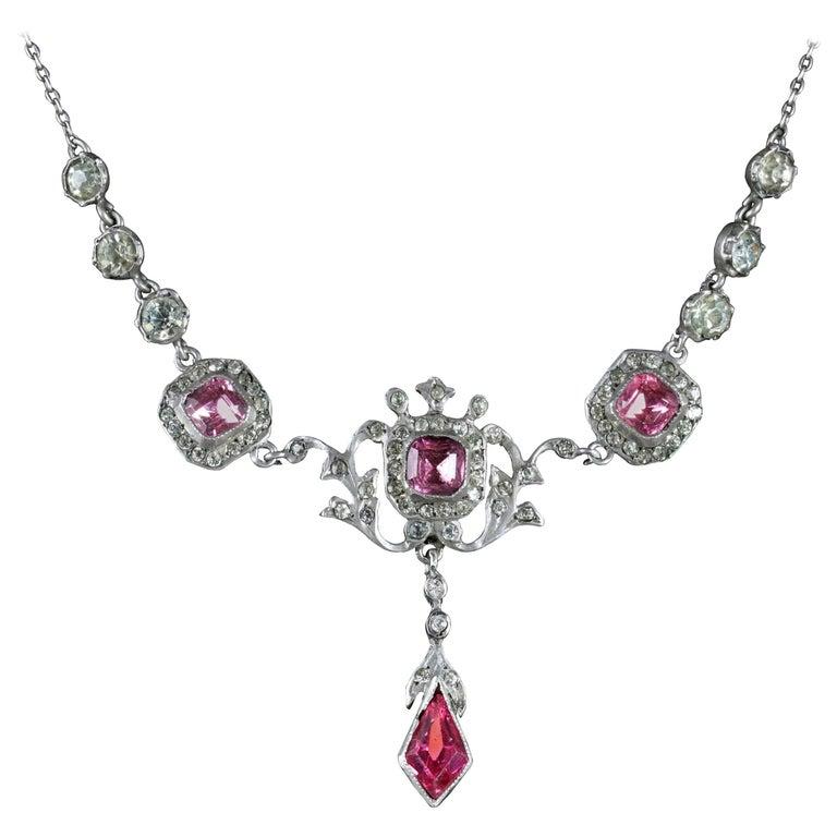 Antique Edwardian Pink White Paste Necklace Silver, circa 1905