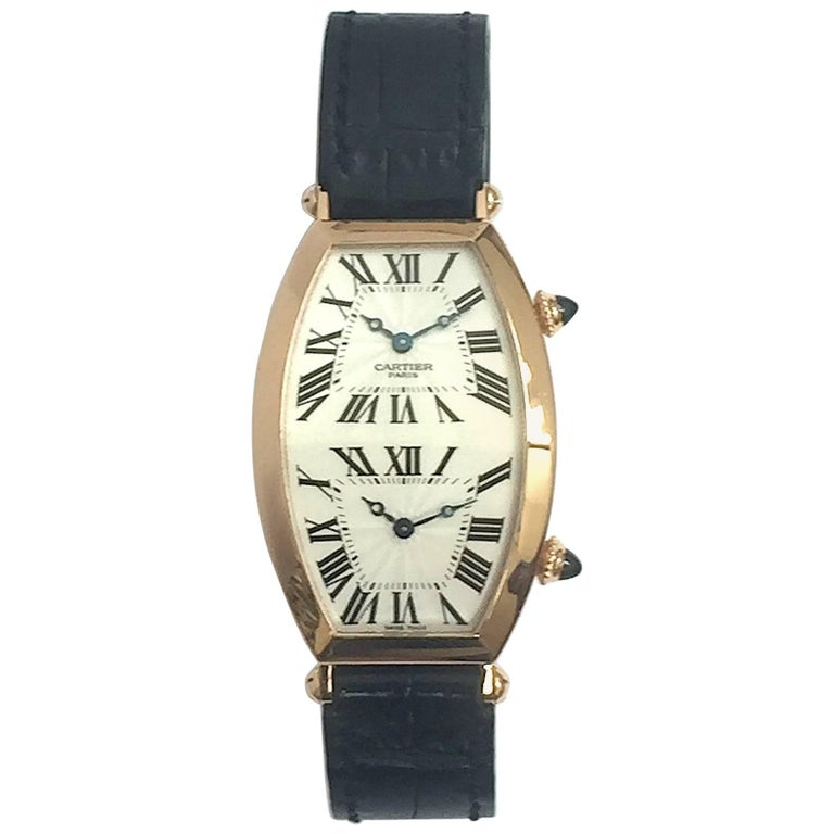 Cartier Paris Rose Gold Tonneau Cintree Dual Time Mechanical Wristwatch For Sale