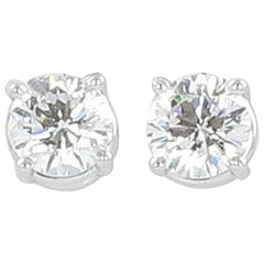 Gübelin GIA Certified 1.04 Carat Round Diamond White Gold Earstuds