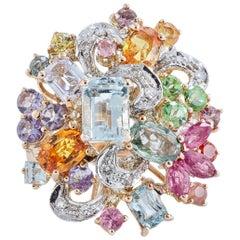 Diamonds Sapphires Rubies Tanzanite Aquamarine Rose Gold Ring