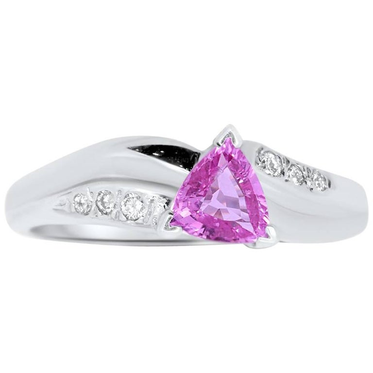 0.70 Carat Trillion Cut Pink Sapphire and White Diamond Ring