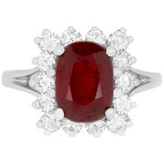 2.97 Carat Cushion Cut Ruby and 0.82 Carat Diamond Ring